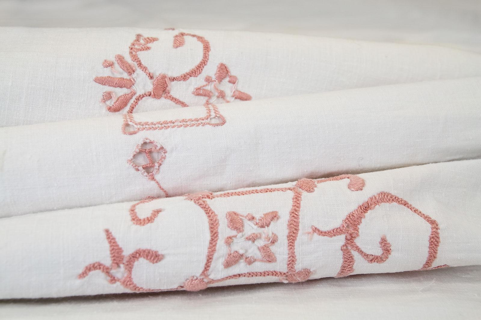 Rosalba Vintage Pink Hand Stitched Flat Sheet